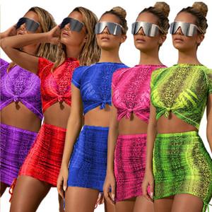 Fluorescente Mujeres Trajes de manga corta camiseta de Cultivos Top + Skirt 2 piezas Conjunto diseñador de moda camiseta faldas del vestido del chándal de la ropa del juego S-2XL