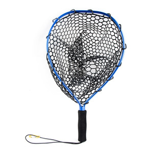 Liga de alumínio ferramentas de pesca Strong portátil com Lanyard substituição monofilamento Landing Net Outdoor Sports Lançamento de malha