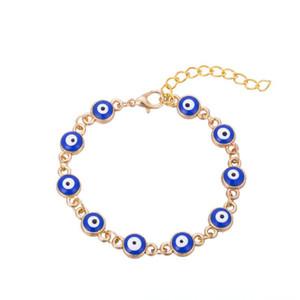 Encantos Turquía Blue mal de ojo simple cadena ajustable del brazalete pulseras regalo de Navidad de la pulsera de la joyería del envío