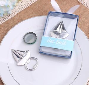 100pcs / lot Düğün iyilik Plaj iyilik Seti Yelken Yelkenli Şişe Açıcı Şarap Açacağı Düğün Hediyeleri ücretsiz nakliye