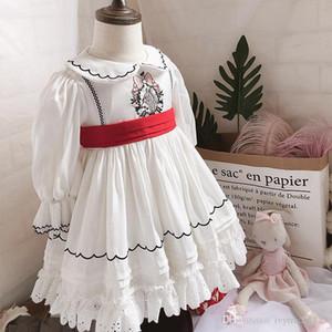 Çiçek Nakış% 100 Pamuk Nefis Uzun Kollu Prenses Elbise ile İspanya Tasarım Kız Giyim Elbise Çocuklar Pet Pan Yaka