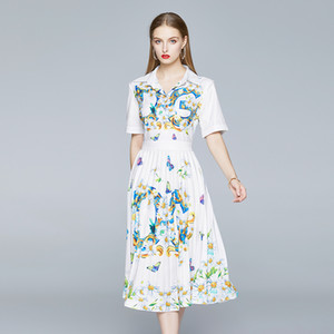 New Elegant White Classic Floral Printed Pleated Lapel Shirt Midi Dress Women Ladies Fashion Casual Office Button Short Sleeve Party Dresses