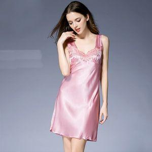Sexy Lace mangas Pijamas Moda V Neck Ladies Nightgowns Sleepshirts Solid Comprimento do joelho Cor Womens Acima
