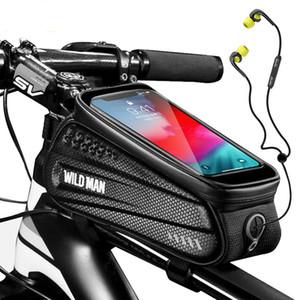 A prueba de lluvia Teléfono de bicicletas bolsa con el marco de la pantalla táctil frontal Parte superior del tubo Ciclismo Bolsa reflectante 6.5in caja del teléfono accesorios de la bici de MTB