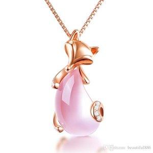 Envío de la gota Venta al por mayor Rose Gold Color Sex Fox Animal Ross Cuarzo Rosa Opal collar para mujeres niñas gargantilla
