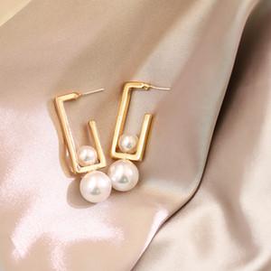 estilo coreano simulados brincos de pérola geométrica brincos de mulheres 2,019 declaração requintado luxo designer fêmea jóias