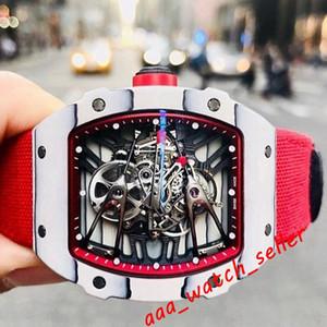 orologi 11 stili uomini automatici RM27-02 RN RM056 fibra di carbonio bianco NTPT cassa traforate cristallo tourbillon zaffiro cranio