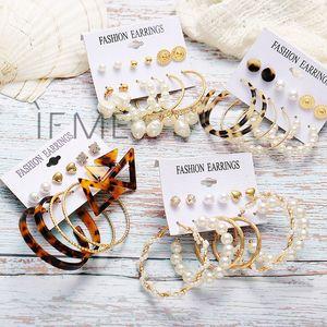 Jóias e Acessórios IF Pérola Ouro ME Moda Vintage Rodada Círculo Brincos Set For Women Grande menina Acrílico Tortoise shell Dangle