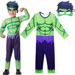 Avengers Hulk Costume For Boys Cosplay Halloween Costume for kids Carnival Clothes Children Gifts Jumpsuits and Mask