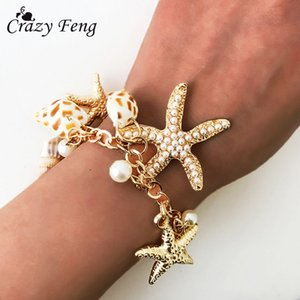 heap Charm Bracelets 2018 Fashion Jewelry Ocean Shells Starfish Bracelet for Women Bohemian Charm Bracelets Bangles Summer Beach Link Cha...