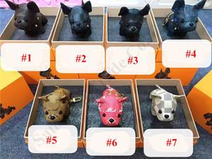 Llavero del perro de dibujos animados Pendents unisex Llavero monedero cuero de la PU linda llavero Titular de Animal Perro adultos encanto de la baratija para niños sin caja de A123003