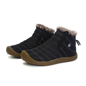 Outdoor Water-resistant Non-slip Snow Boots Slip-on Winter Warm Shoes for Men and Women
