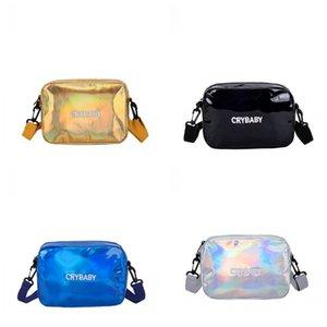 Genç Kız Lazer Çanta Eğik Açıklıklı Wrap Küçük Kare Paket Güzel Tek Omuz Mavi Pembe Ayarlanabilir Popüler 12dm C1