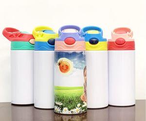 جديد 6 ألوان كوب فارغ ديي التسامي سيبي 350ML زجاجة الطفل نقل الحرارة المغلفة الكرتون جدار مزدوج الفولاذ المقاوم للصدأ كوب ماء الأطفال
