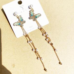 2020 fashion Jewelry 925 sterling silver luxury designer jewelry women earrings designer Earings Baroque Dazzle tassels butterfly Earings 66