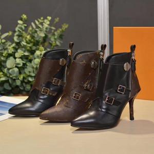 Salto livre DHL Mulheres de alta qualidade sapatos de couro Botas Botas reais sapatos moda inverno / queda de moda botas Rivet com a caixa UE: 35-41