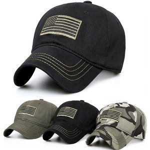 USA American Flag Patch Camouflage Hat Military Tactical Operatchable Baseball Cap 3 Colors for choices