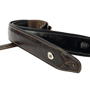 Soldier High Quality Genuine Leather Real Cowhide Guitar Strap for Electric Bass Guitar Adjustable Padded Belt Black Browm Color