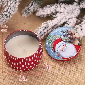 New Creative Tinplate Tint Christmas Smokeless Candle Gift Christmas Day Atmosphere Candle Christmas Decoration