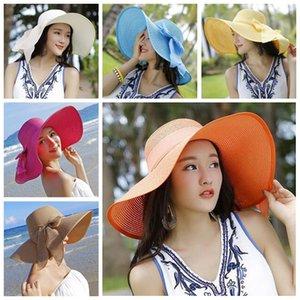 Verão Mulheres Praia Straw Hat respirável Sun Hat Lady Moda Ampla Brim de palha Chapéus Outdoor Viagem Dobrável Laço de Borboleta Chapéus 11 Cores VT0260