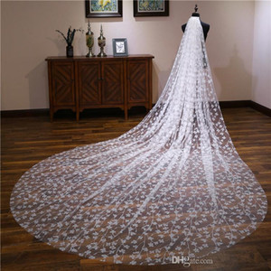 4M Long Wedding Veils Cathedral Length One Layer Appliqued Tulle Sequined Bridal Veil For Women With Free Comb