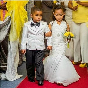 Lace Mermaid Flower Girls Dresses For Weddings Jewel Neck Princess Little Girls Pageant Dresses Custom Made