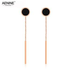 Dangle & Chandelier AENINE Rose Gold Black Acrylic Circle Drop Tassel Earrings Jewelry Trendy Stainless Steel For Women AOGE356