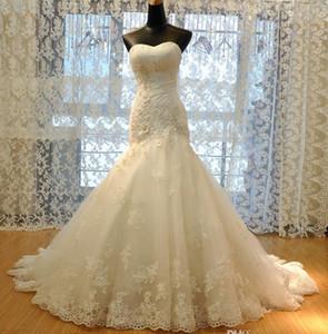 Vestido de Nooiva Sereia Свадебные платья с аппликацией без рукавов без рукавов русалка свадебные платья дешевые длинные свадебные платья HY4175