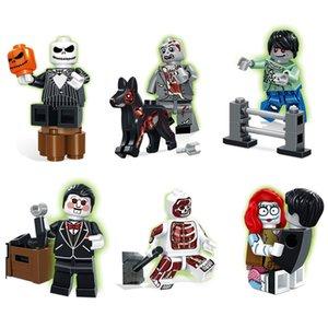 6pcs Spiel Zombie War II Mini-Spielzeug-Abbildung The Walking Dead Doktor Anatomini Saw Billy Kürbis-König Sally Dog Boy Baustein-Ziegelstein
