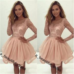 Чистый длинный рукав мини короткие платья домохозяйства румяна розовые сладкие 16 выпускных платьев на молнии на молнии на молнии платье для вечеринки короткое коктейльное платье