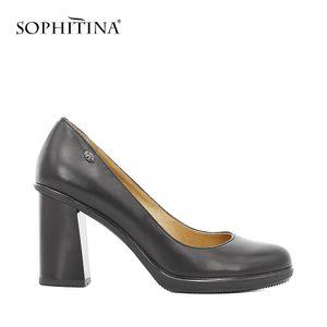 SOPHITINA Dame élégante Pompes Haute Qualité En Cuir Véritable Pointe Ronde Haut Talons Carrés Classique Parti Bureau Robe Femmes Chaussures D11