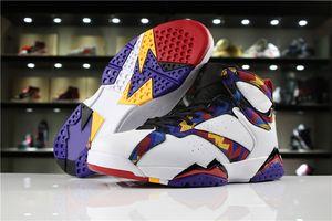 Los nuevos zapatos J7 nada pero de la red de baloncesto del Mens de la buena calidad Blanco / Universidad Rojo-Negro-Brillante Concord hombres atléticos diseñador Deportes zapatillas de deporte