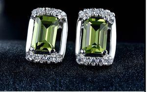 la calidad del regalo del día de la parte superior S925 de plata de ley olivino joya pendientes CZ clavos de plata esterlina de San Valentín preciosa peridoto DDS18 pendientes de piedras preciosas