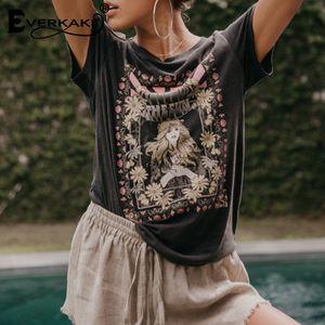 Bohemian Everkaki retro camisetas Impresso TeesTops Verão 2019 Boho T Shirt Mulheres FashionCasual Womens Clothing T-Shirt Y200109