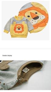 2019 ropa de invierno del otoño del bebé del de manga larga animal de la historieta del león Escudo camiseta de deporte para los niños recién nacido Sweatsuit