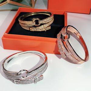 Nova festa de moda quente jóias para mulheres rosa ouro bilayer pulseira de casamento fivela luxuoso barulheta de qualidade superior ouro entrega gratuita