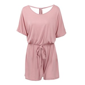 Wholesale-Romacci Sexy Women Summer Jumpsuit Shorts Short Sleeve Backless Plus Size Playsuit Elastic Waist Bandage Casual Romper Body Suit