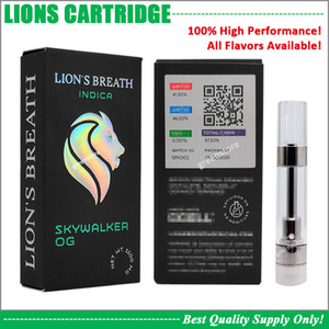 NEW Lions Breath Vape картридж 0,8 мл Pyrex Glass Tank Ceramic Coil густое масло 510 Корзина Аккумулятор Sherbinskis Krt Cookies