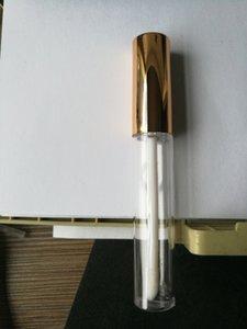 الجملة الساخنة 10ML البسيطة الجولة شفة حزمة أنبوب لمعان الشفاه مستحضرات التجميل زجاجة اللمعان حاوية فارغة مع غطاء الذهب الجديد