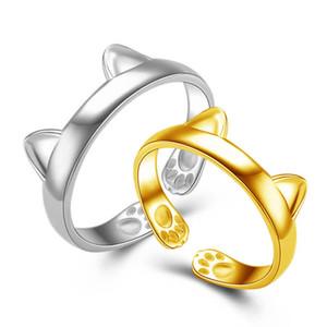 Anneaux de bande d'oreille de chat en or blanc mignon 18K avec charme de patte ouvert bagues pour femmes bagues de soirée bijoux belle filles or bague midi