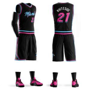 Personnalisé College Basketball Jersey Sets kits uniformes de sport Vêtements pour adultes Chemises maillots de basket-ball Respirant short bricolage personnalisé