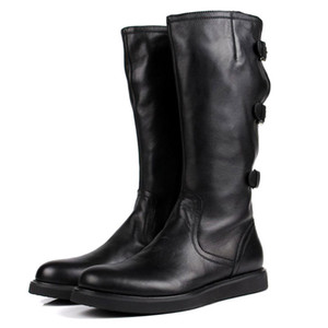 Italian Brand Mens Knee High Boots Personality Buckle Motorcycle Biker Footwear Genuine Leather Flats Knight Boots Shoes