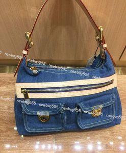 2019 vintage style denim tasche damen jeans rindsleder patckwork umhängetasche 44464 großvolumige handtasche reißverschluss zwei klappentaschen