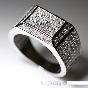 Alta Victoria Wieck monili di lusso pavimenta 925 Argento Versione Stunning anello della fascia regalo Zaffiro bianco del diamante della CZ Uomini fidanzamento formato 8-12