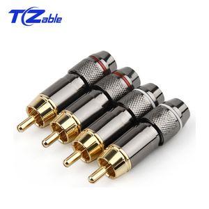 50 unids Conector RCA Chapado en oro Cabeza de Lotus Conectores de video / audio Cable de 6 mm Cable RCA Adaptador de enchufe macho Soldado AUX Cables de alta fidelidad