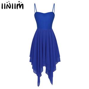 iiniim Women Adult Asymmetric Dancewear Ballet Dance Dress Chiffon Lyrical Gymnastics Leotard Costumes Contemporary Dance Dress