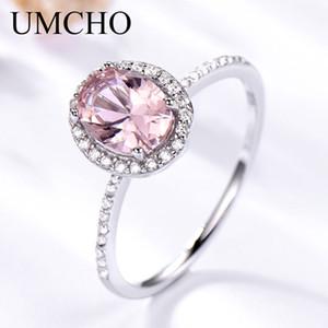 UMCHO anillo de plata 925 anillos ovales Morganite rosado clásicos para la alianza de boda Mujeres de compromiso de la piedra preciosa joyería fina regalo