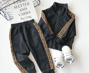 enfants designer tenues bébé survêtements détail 2020 nouveaux garçons filles lettre football baseball Survêtement 2 pcs Sport Costumes Ensemble (veste + pantalon)