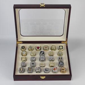 27PCS 1991 a 2017 de baloncesto estadounidense Patriot s Equipo anillo de campeonato de Campeones con la exhibición de madera caja de regalo de recuerdo del ventilador al por mayor de 2019