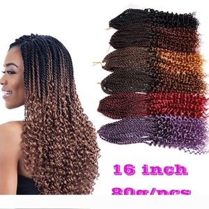 A Pre-Twisted curl Kanekalon Kinky Dreadlocks Crochet hair Afro Hot 16 inch Synthetic Twist Braiding Hair Extensions Jerry Curly Faux L
